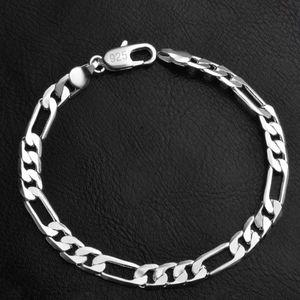 """925 Sterling Silver Chain Link Italian Figaro Bracelet 8"""""""